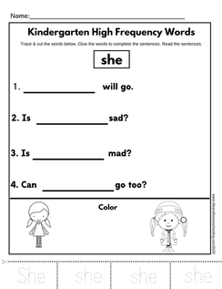 Sight Words Trace & Glue