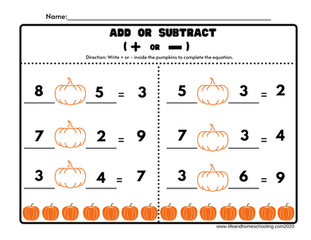Free add or subtract worksheets / life and homeschooling