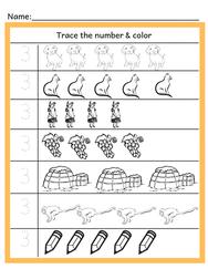 Preschool Math (Tracing & Color)