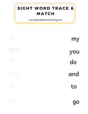 Sight Word Trace &n Match