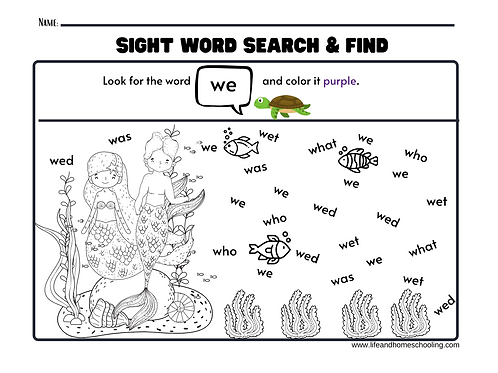 Mermaid Sight Words Search and Find