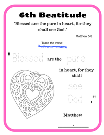 6th Beatitude verse tracing