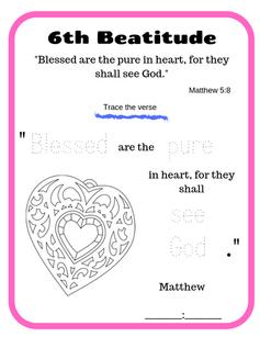 6th Beatitude verse tracing