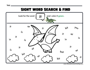 Dinosaur Sight Word Search & Find Printable Activity
