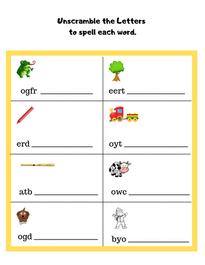 Kindergarten Spelling Worksheet