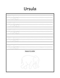 Free name tracing printable Ursula