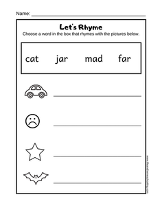 Free rhyming printable worksheet