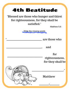 4th Beatitude verse printable