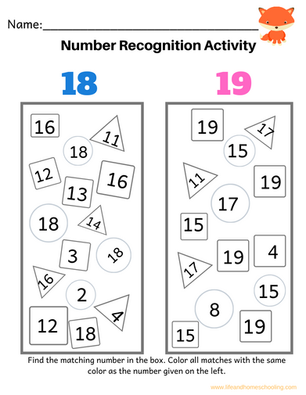 Number Recognition (1-20)