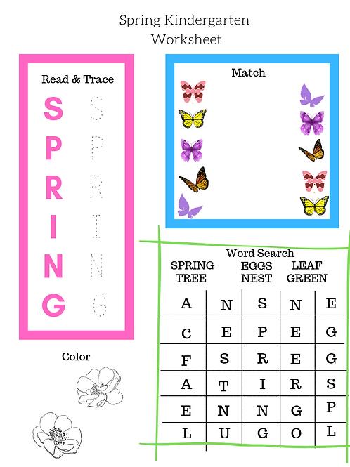 30 pages Spring Kindergarten Worksheet