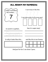 Preschool Math/ All About Numbers 1-20