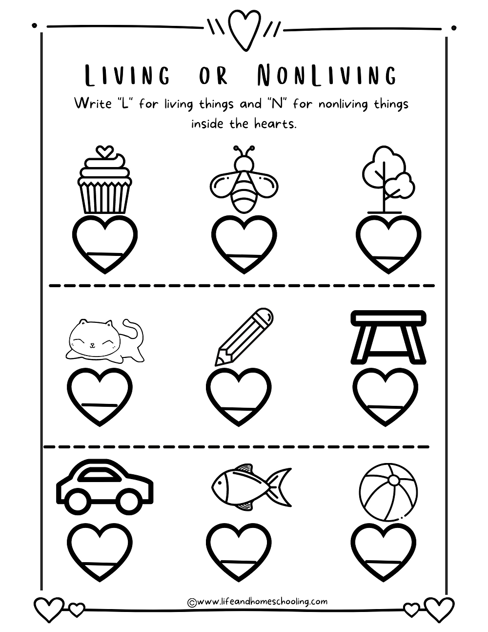 Living Things Or Nonliving Things Kindergarten Free Printable