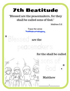 7th Beatitude verse tracing