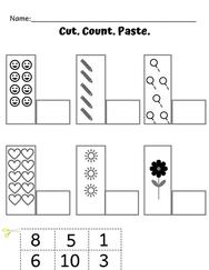 Preschool Math Cut, Count & Paste