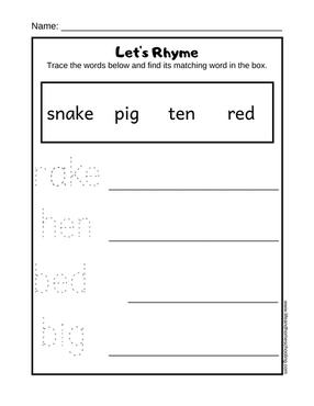 free rhyming printable worksheet