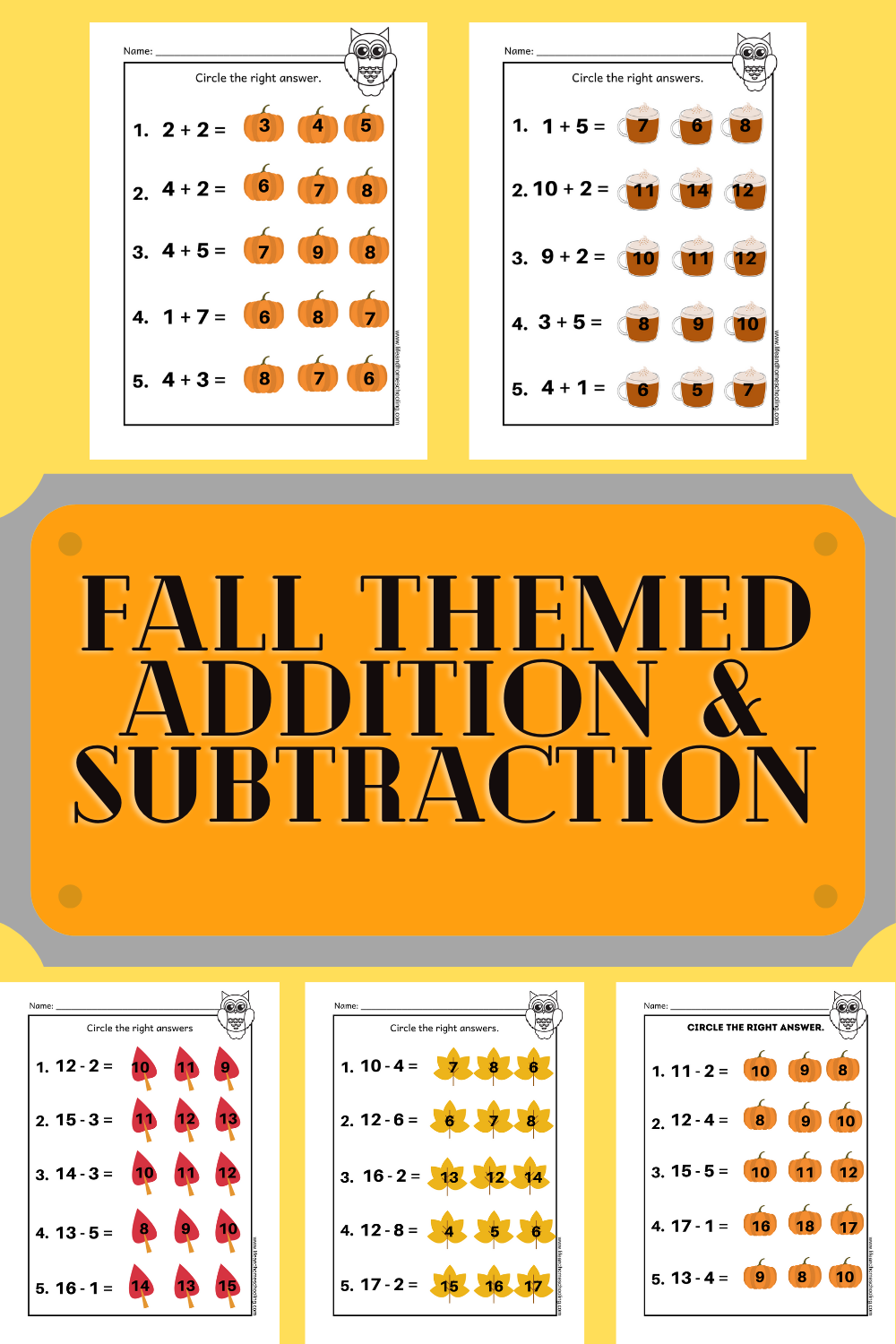 Fall Themed Kinder 2nd Grade Math Addition Subtraction Printable Worksheets