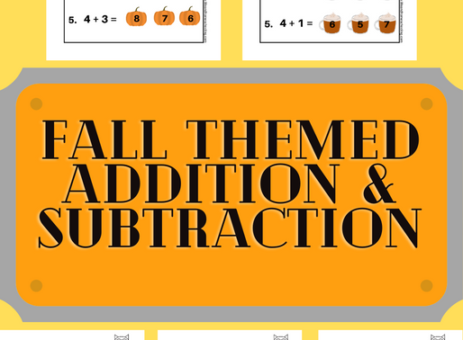 Fall Themed Kinder - 2nd Grade Math (Addition & Subtraction) Printable Worksheets