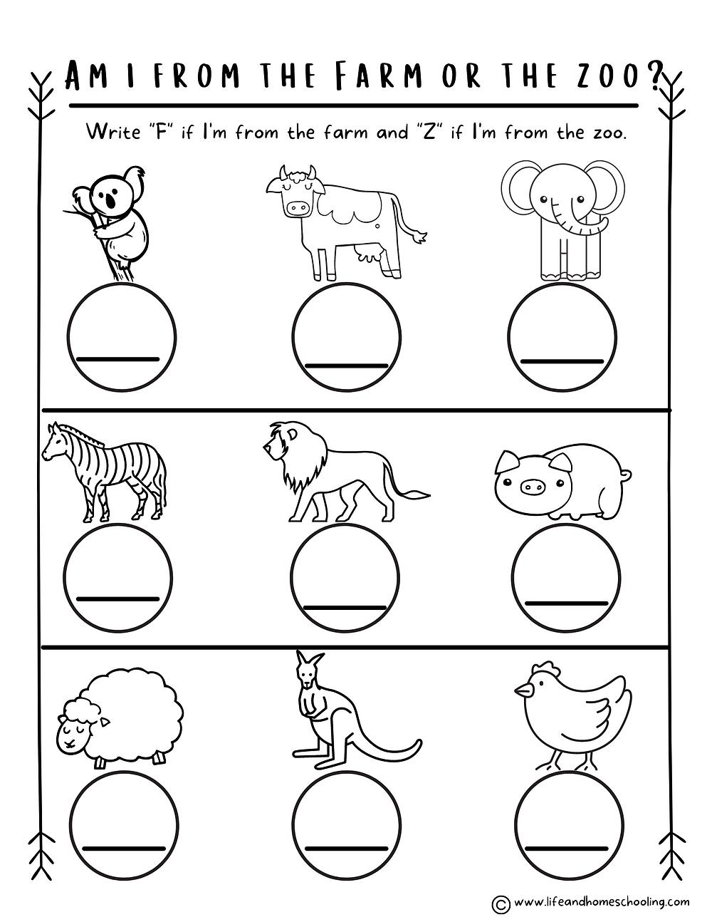Preschool Kindergarten Science Animals Printable Worksheets