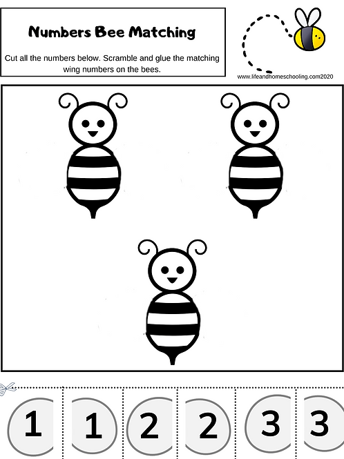 Bee Number Matching Activity