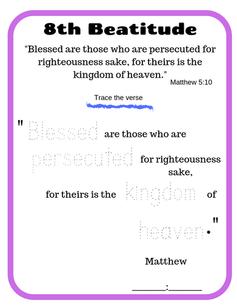 8th Beatitude verse tracing