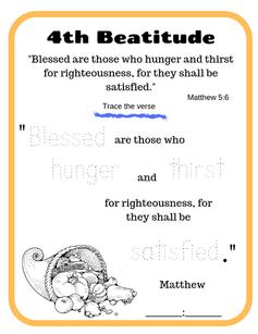 4th Beatitude verse tracing