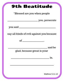 9th Beatitude verse printable