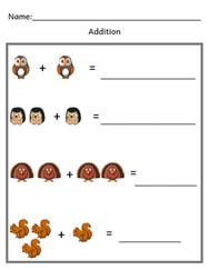 Preschool Math Worksheet / Fall Addition