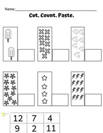 Preschool Cutting & Counting Worksheet