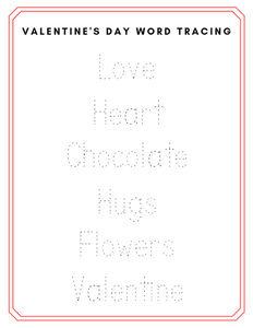 Valentines Day Word Tracing