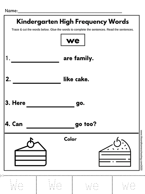 Kindergarten Sight Words (62 pages)
