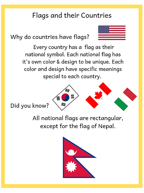 Kindergarten Social Studies (Flags and their Countries