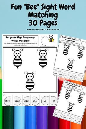 LifeandHomeschooling Sight Word Matching Worksheet