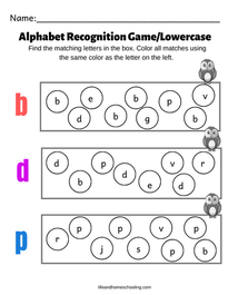 Alphabet Recognition Game/Lowercase