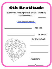 6th Beatitude verse printable