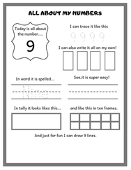 Perschool Math Worksheet / All About Numbers 1-20