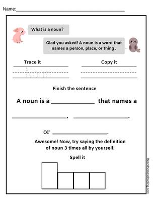 Nouns Kindergarten Worksheet