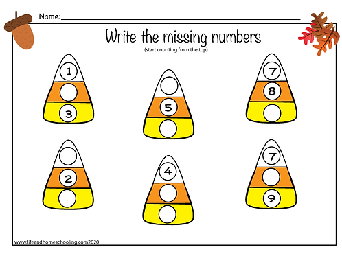 Candy Corn Write the Missing Numbers 1-30