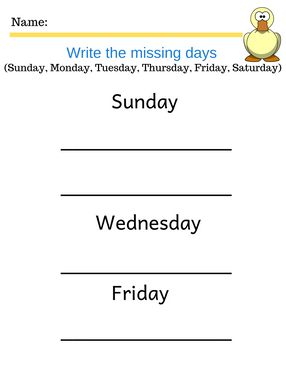 Days of the week kindergarten worksheet