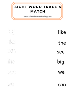 Sight Word Trace & Match