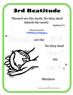 3rd Beatitude verse tracing