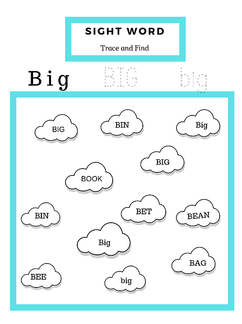 20 pages of Read, Trace & Find Sight Words