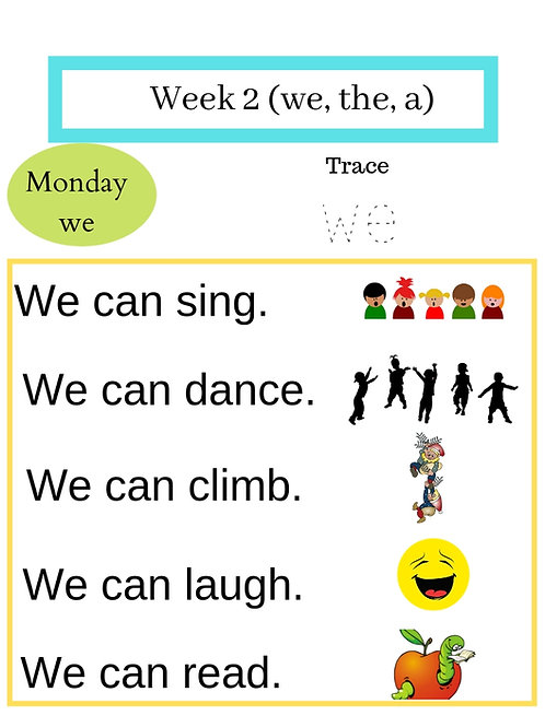 6 months Kindergarten Sight Words Sentence Practice