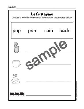Free Rhyme / Rhyming Printable Activity Worksheet