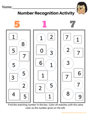 Number Recognition Printable