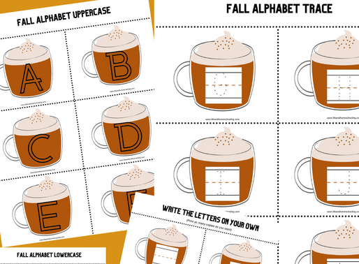 Pumpkin Latte Themed Printable Alphabet Templates