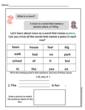 Nouns Kindergarten Worksheet