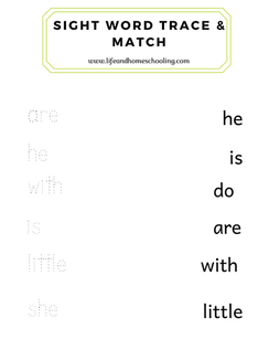 Sight Words Trace & Match