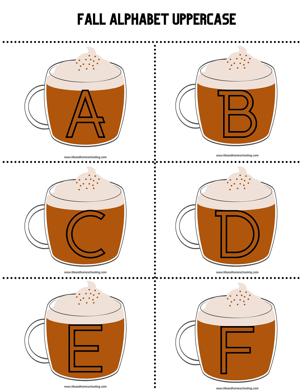 Fall themed (pumpkin spiced latte) alphabet templates / Life and Homeschooling