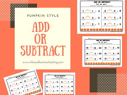 Pumpkin Add or Subtract