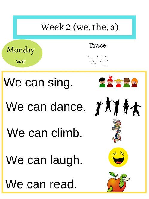 155 pages of Kindergarten Sight Words Sentence Practice (1 year, No Prep)